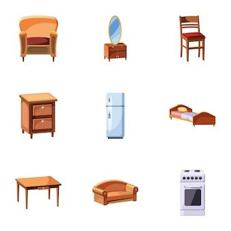 Woninginrichting iconen set, cartoon stijl