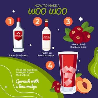 Woo woo cocktail recept illustratie