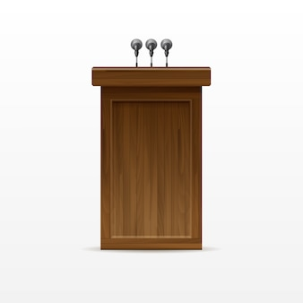 Wood podium tribune rostrum stand met microfoon