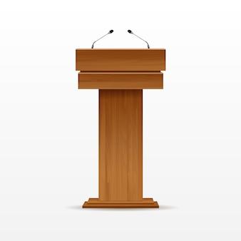 Wood podium tribune rostrum stand met microfoon