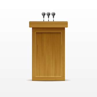 Wood podium tribune rostrum stand met microfoons