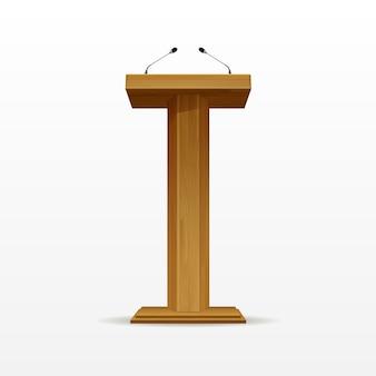 Wood podium tribune rostrum stand met microfoons