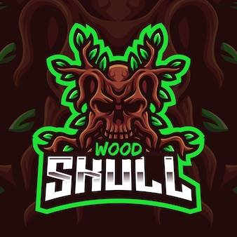 Wood skull mascot gaming logo-sjabloon voor esports streamer facebook youtube
