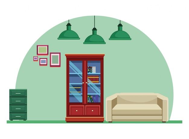 Woode bibliotheek en bank fauteuil meubels