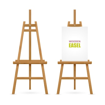 Wooden artist easel set