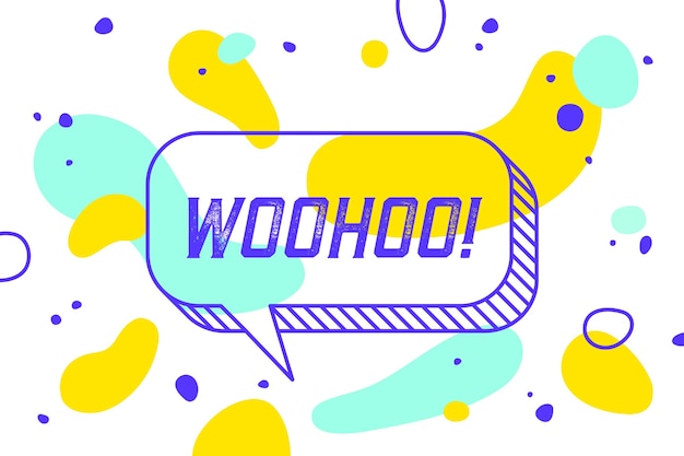 Woohoo. banner, tekstballon, poster en stickerconcept, geometrische memphis-stijl met tekst woohoo.