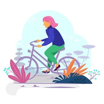 Wooman op de fiets.