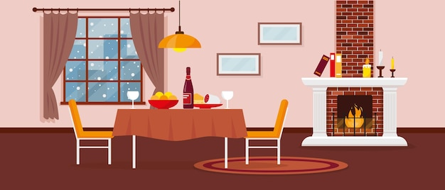 Woon- of eetkamer met open haard meubels tapijt en raam met sneeuwlandschap