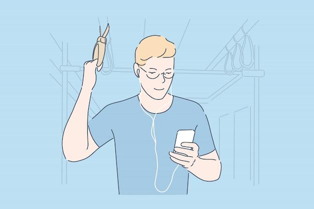 Woon-werkverkeer met smartphone bus passagier concept