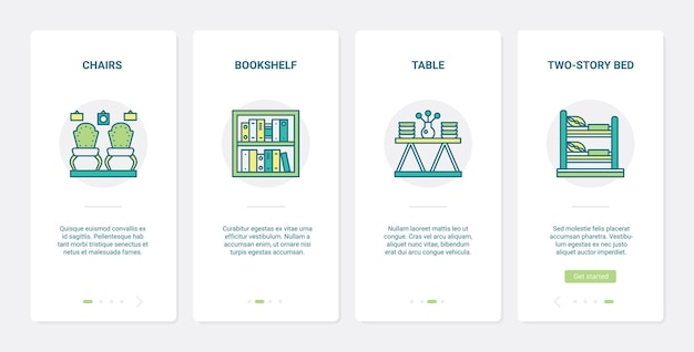 Woondecoratiemeubels, meubelcollectie ux, ui onboarding mobiele app-paginaschermset