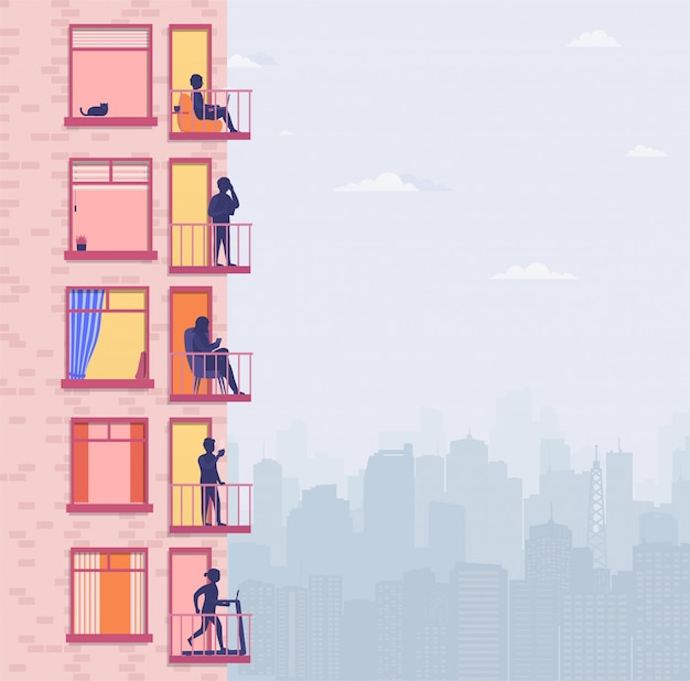 Woongebouw met mensen op open raam terrassen. buren praten over de telefoon, sporten, ontspannen, drinken koffie. omgeving appartementen met uitzicht op de stad