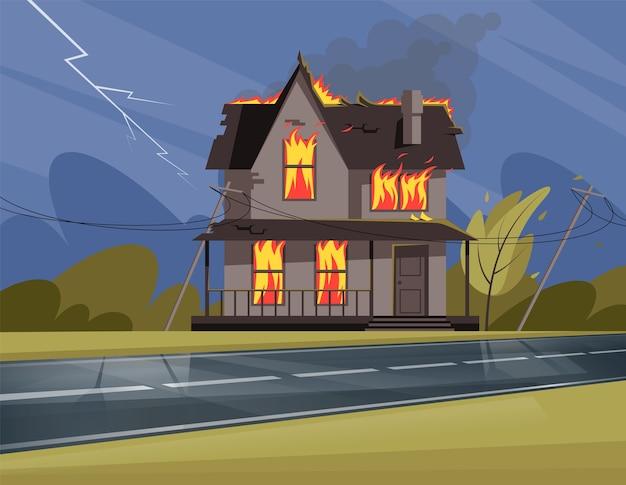 Woonhuis in brand semi illustratie. vuur vangt alle ramen, deuren en dak op. afbrokkelende en leeglopende gebouw van twee verdiepingen. cartoonscène met verwelkte omgeving voor commercieel gebruik