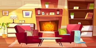 Woonkamer binnenlandse illustratie van comfortabele moderne of retro flats en meubilair.