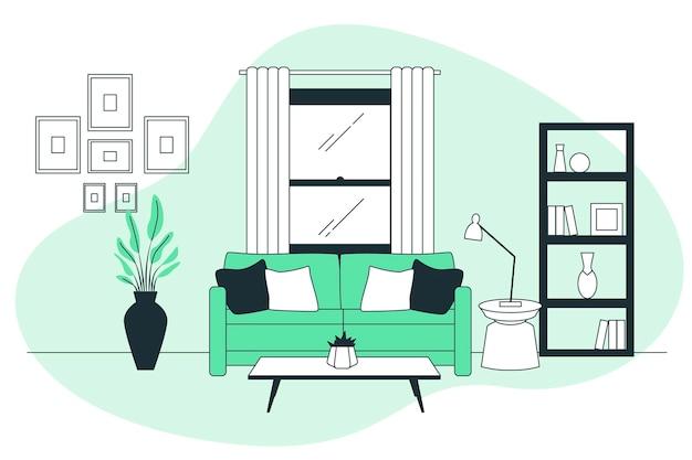 Woonkamer concept illustratie