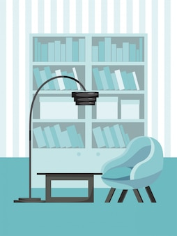 Woonkamer concept interieur, gezellige kamer plaats illustratie. ontspan in de bank, boekenkast en tafel, vloerlamp.