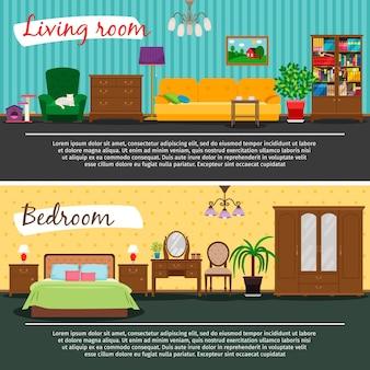 Woonkamer en slaapkamer interieur vectorillustratie