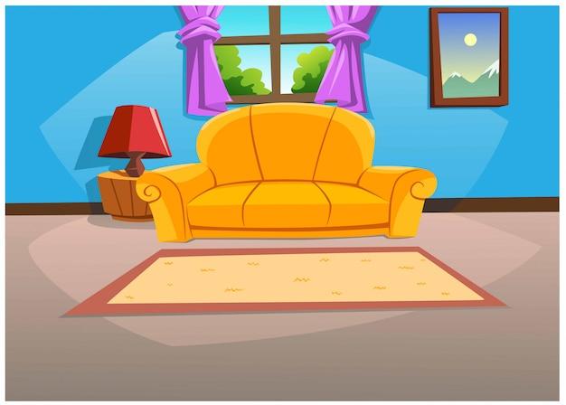 Woonkamer in het huis in heldere kleuren overdag.