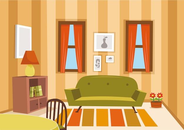 Woonkamer in vintage stijl vectorillustratie