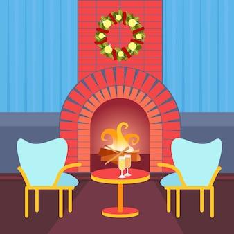 Woonkamer ingericht vrolijk kerstfeest gelukkig nieuwjaar open haard huis interieur wintervakantie flat