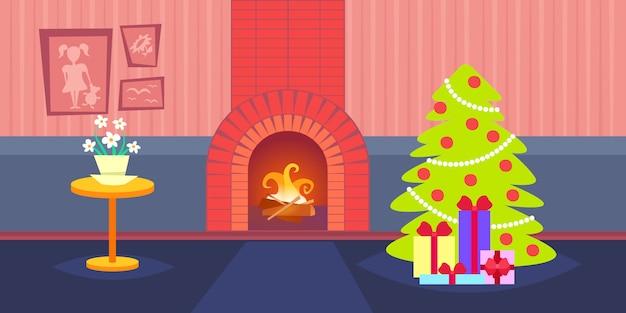 Woonkamer ingericht vrolijk kerstfeest gelukkig nieuwjaar pijnboom open haard huis interieur wintervakantie flat