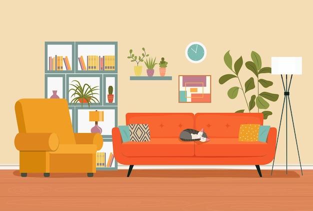 Woonkamer interieur. comfortabele bank, boekenkast, stoel en kamerplanten.