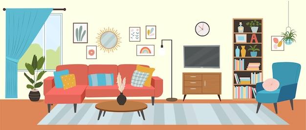 Woonkamer interieur. comfortabele bank, tv, raam, stoel en kamerplanten.