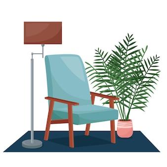 Woonkamer interieur. fauteuil, vloerlamp en kamerplant, vectorillustratie