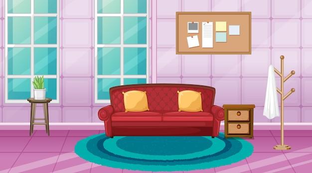 Woonkamer interieur met meubels