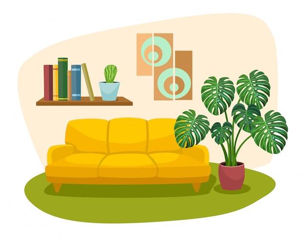 Woonkamer interieur met sofa boekenplank en tropische plant. illustratie.