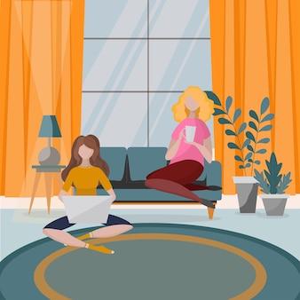 Woonkamer interieur met sofa, kamerplanten en huisdecoraties. modern appartement ingericht in scandinavische stijl. twee meisjes die zitten, werken en thee drinken. platte cartoon illustratie.