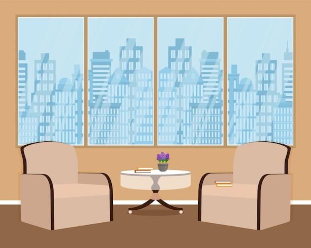 Woonkamer interieur met twee fauteuils, kamerplant, tafel, boeken en raam.