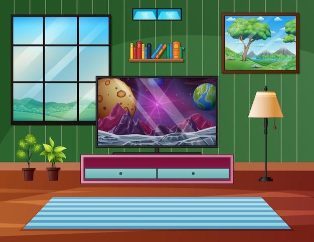 Woonkamer interieur met verschillende meubelstukken