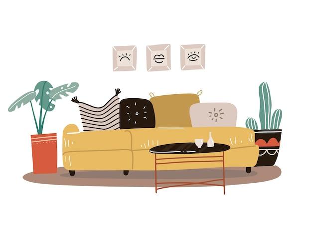 Woonkamer interieurconcept in scandinavische stijl. geïsoleerde gele bank met kussens en schilderijen in lijsten, potplanten, salontafel. platte hand getrokken.