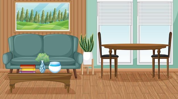 Woonkamer interieurscène met meubels en woonkamerdecoratie