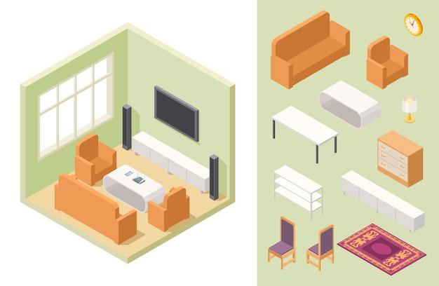 Woonkamer isometrisch. interieur en meubels. isometrische meubels in woonkamer interieur illustratie