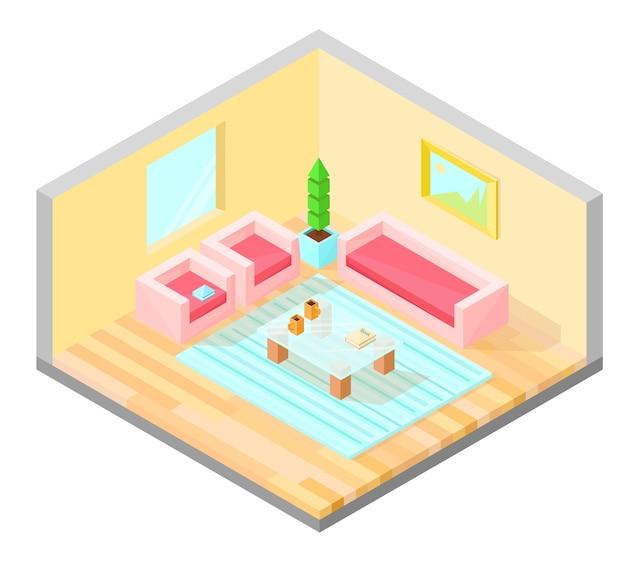 Woonkamer isometrisch ontwerp met tafel, fauteuil, bank, plant, schilderij en tapijt.
