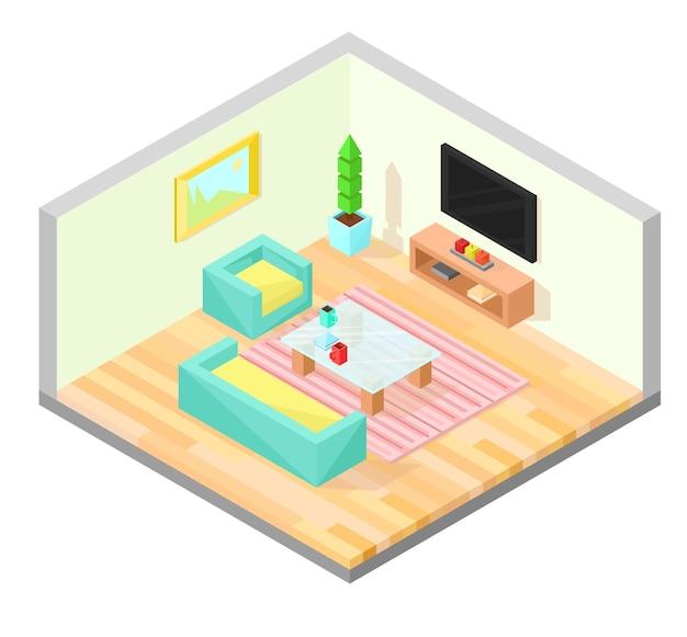 Woonkamer isometrisch ontwerp met tafel, tv, fauteuil, bank, plant, schilderij en tapijt.