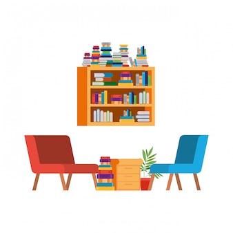 Woonkamer met bank en boekenplank met boeken