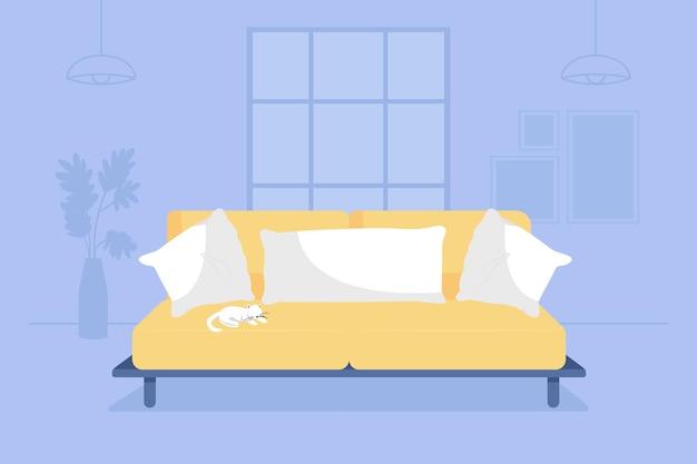 Woonkamer met gele bank 2d vector geïsoleerde illustratie. bank met kussens en kussens. moderne inrichting. gezellig appartement plat interieur op cartoon achtergrond. thuis kleurrijke scène