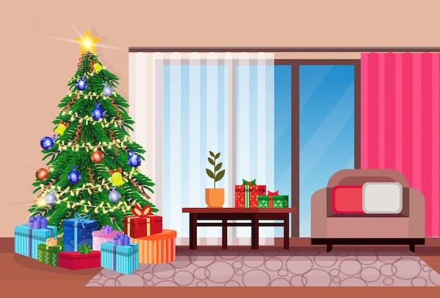 Woonkamer met kerstmis