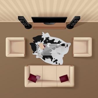 Woonkamer met koeienhuid kleed onder de glazen tafel