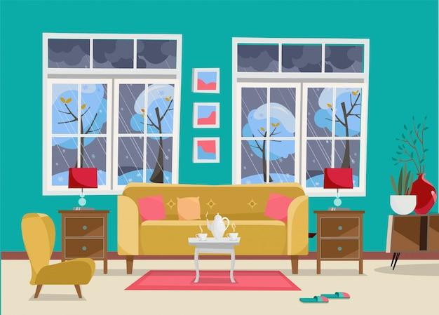 Woonkamer met meubels - bank met tafel, nachtkastje, schilderijen, lampen, vaas, tapijt, porseleinen set, zachte stoel in de kamer met twee grote ramen