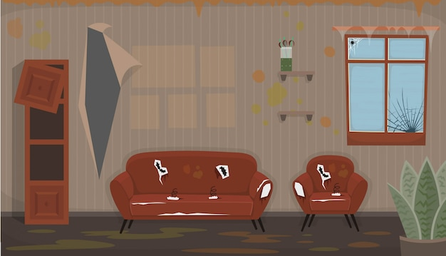 Woonkamer met oude vieze stoel, bank, kapot raam, kapotte boekenplank. plat vuil interieur in cartoon-stijl.