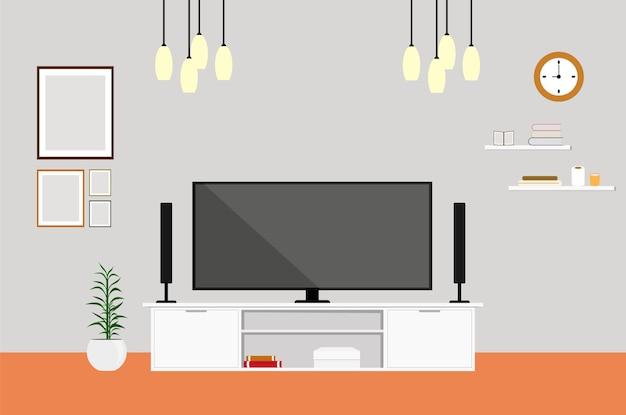 Woonkamer met tv modern design thuis set