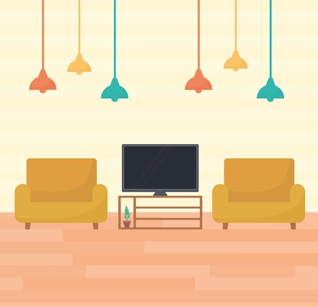 Woonkamer met twee banken, een tv en lampen