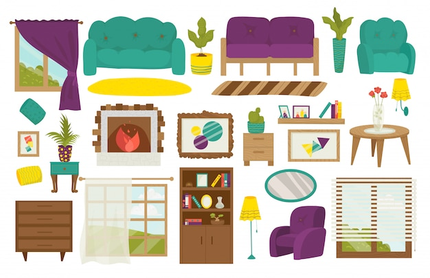 Woonkamer meubels, interieur set, bank, tafel, lamp en kast met boeken, raam, fauteuil en raam, potplanten illustratie. woonkamers of appartementenmeubilair.