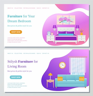 Woonkamer, slaapkamer meubilair webpagina ontwerpsjabloon. vector illustratie.