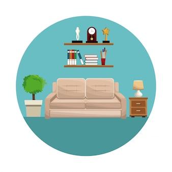 Woonkamer sofa plank boeken trofee klok lamp kleine tafel en potplant