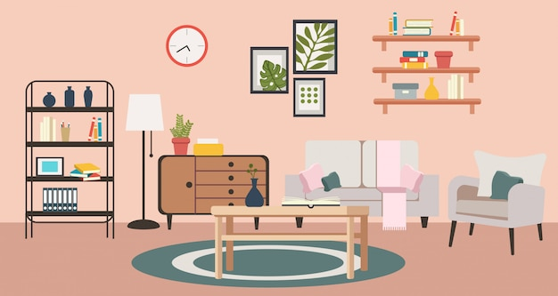 Woonkamer van gezellig roze huis.