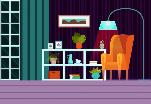 Woonkamerbinnenland in avond met meubilair, venster, gordijnen. platte cartoon stijl vector